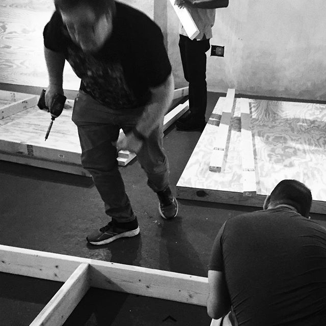 """Hard at work are our awesome volunteers rocking out the set building this weekend! Excited to see it all come together for """"The Ugly One"""". Opens Nov. 17th.  Hurry up and buy tickets for opening weekend, they are selling fast.  letsgetugly.com"""