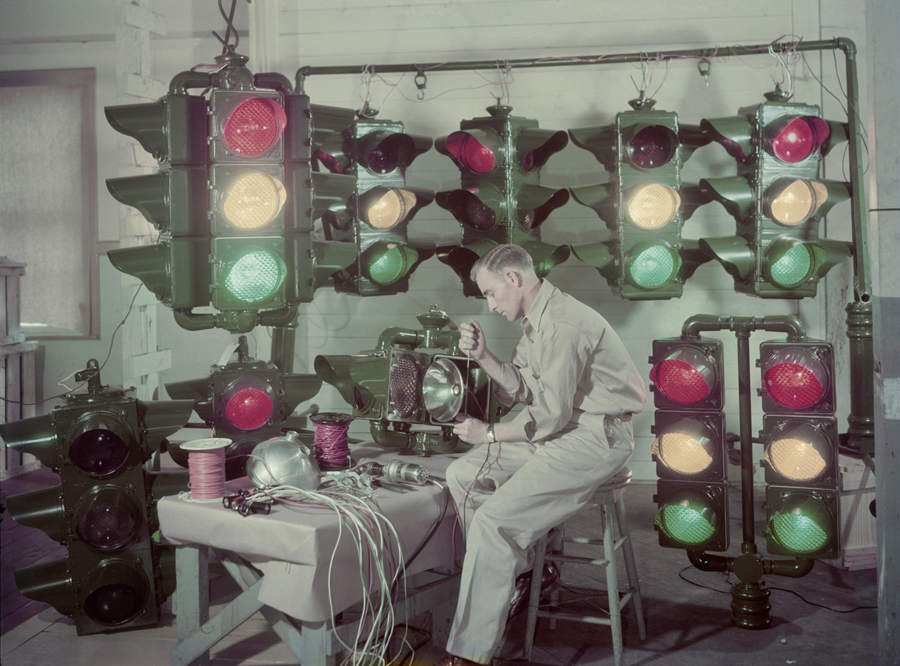 Traffic lights are made in Shreveport, Louisiana, and sent around the U.S. and abroad, December 1947. PHOTOGRAPH BY J. BAYLOR ROBERTS, NATIONAL GEOGRAPHIC
