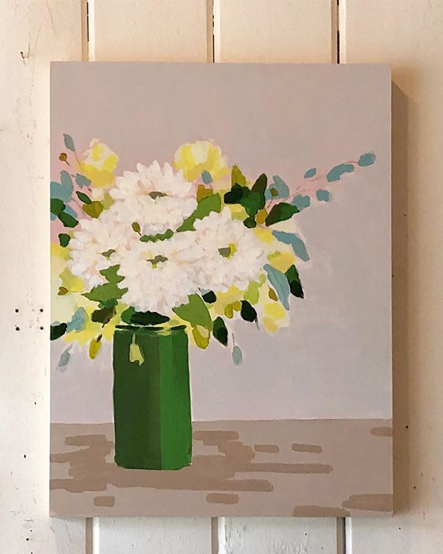 Dahlias in a Vase, 18x24, acrylic on wood. Up now @bellesnest ✨✨✨ #westcoast #painting #stilllife #dahlias #flowers #figurativeexpressionism