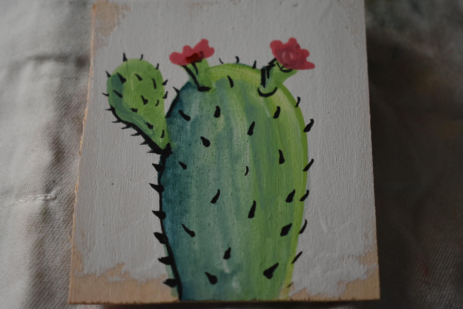 """2016 Goache on wood. Size is about 2""""x3"""". Painted to be sold at an outdoor market."""