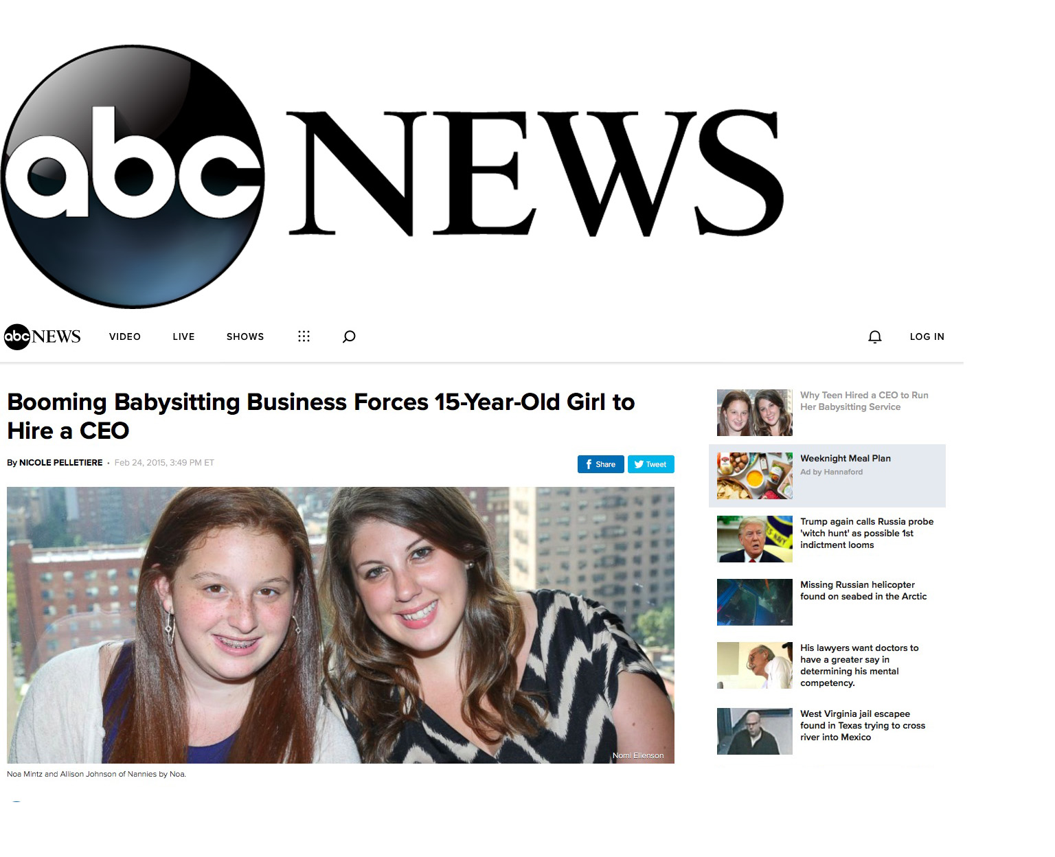 ABC NEWS Booming Babysitting Business Forces 15-Year-Old Girl to Hire a CEO - By day, Noa Mintz is your average high school freshman. After hours, however, the 15-year-old serves as director of Nannies by Noa, a New York City-based company that she independently founded in 2012.