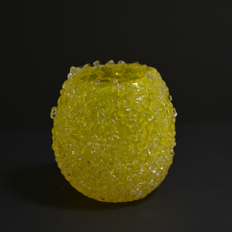Petit bougeoir Gaïa™ de couleur citron