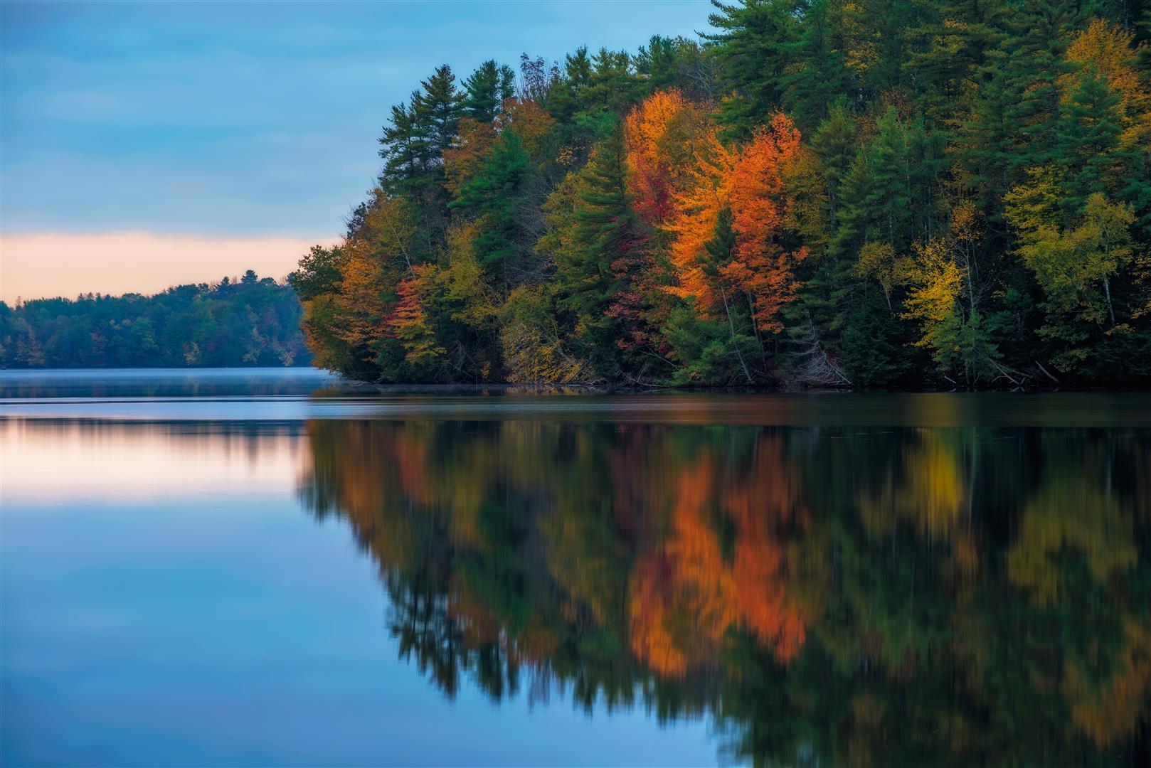 And the light peeks through, cloudy fall sunrise on the Saco River (Large).jpg