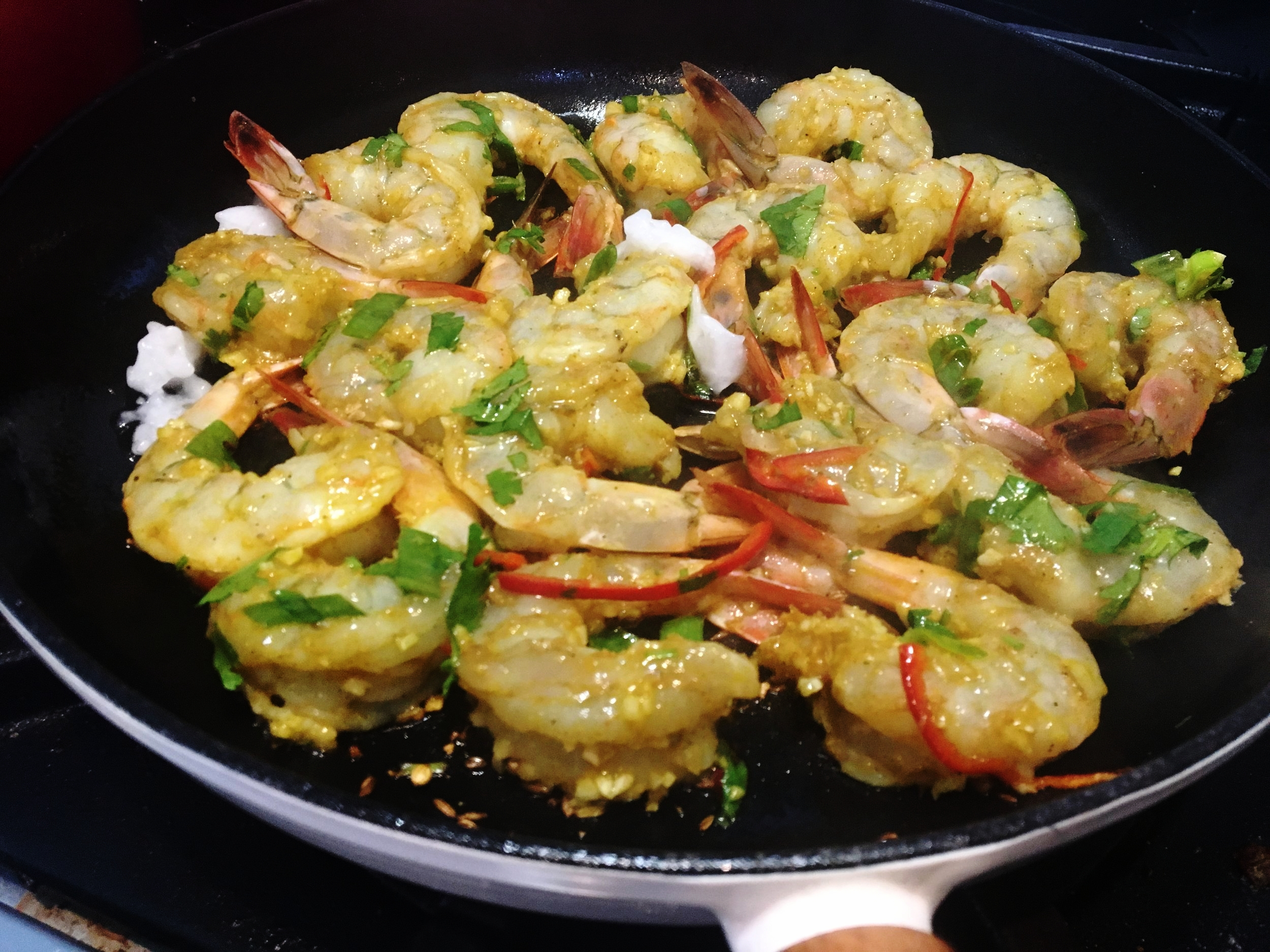 On a high heat.. - Sauteé shrimp quickly in vegetable oil, until they begin to turn opaque.
