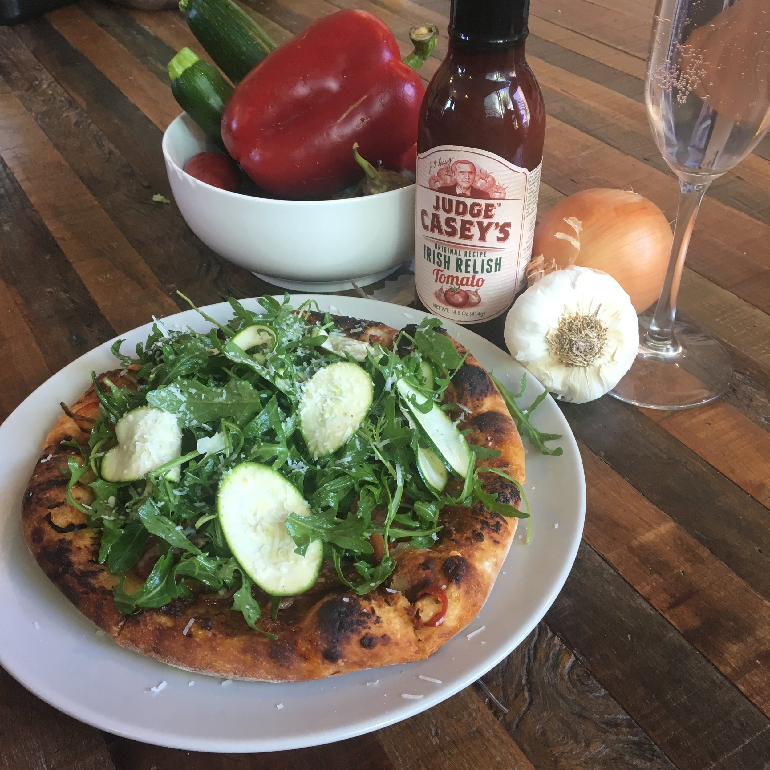 Judge Casey's Pizza - with ham and Arugula