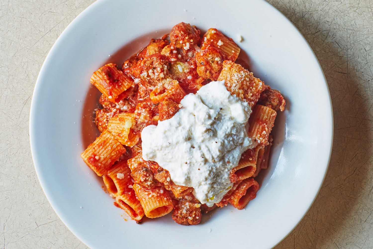 Mezze Rigatoni Ragu with Baby Meatballs and Ricotta di Pecora Cheese