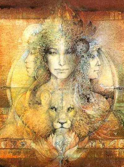 """triple goddess or """"portrait of the inner journey' by  Susan Seddon Boulet"""