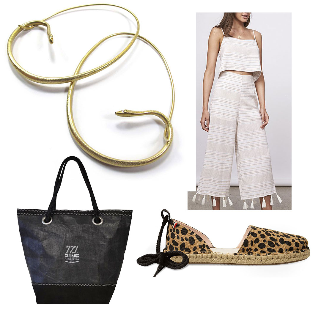 18k snake hoops with diamond eyes from @gabriellakissjewelry at   RTW  . 2 Piece with Pom Poms: MINKPINK,   House of Sage  ; Oracle Sailbag,   Irresistibles;  Clare V. x TOMS Katalina Espadrilles at   Shoes on King