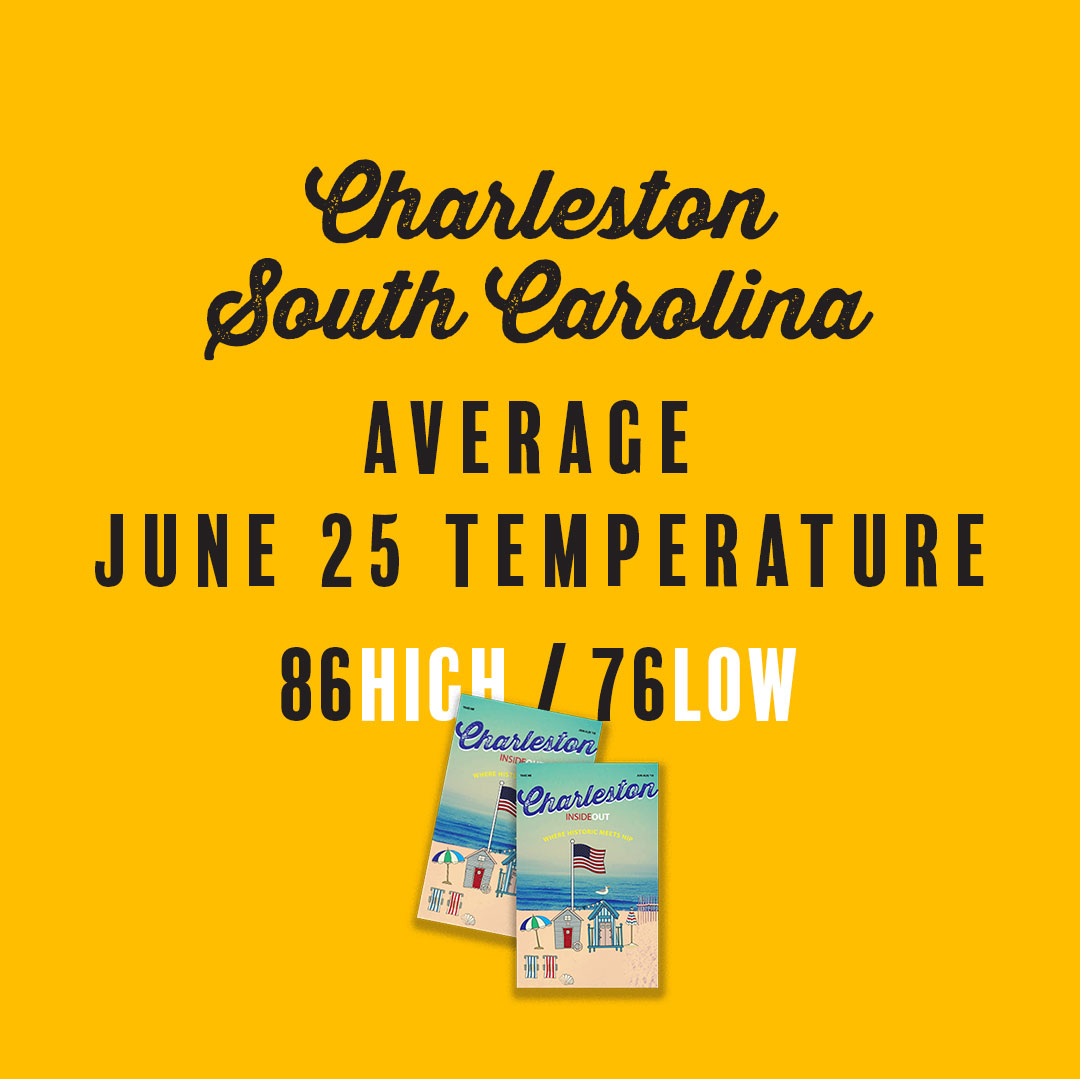 Average temperature in Charleston, SC for June 25.