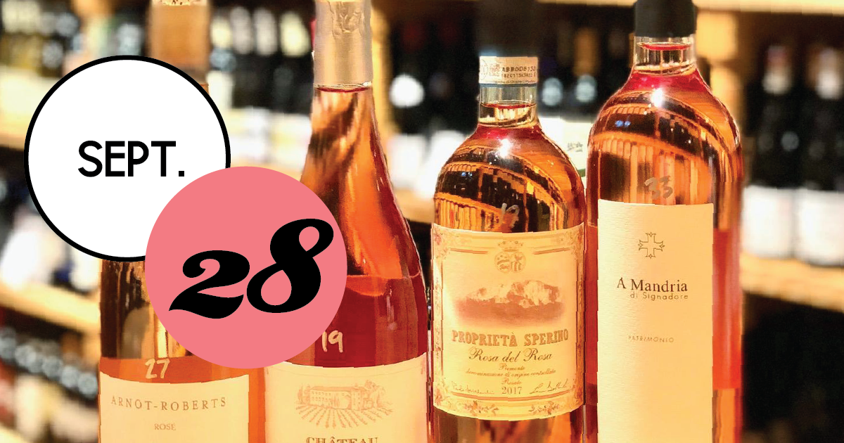 End-of-summer ROSÉ TASTING on Sunday, September 2, from 2 to 3 p.m. at Edmund's Oast Exchange