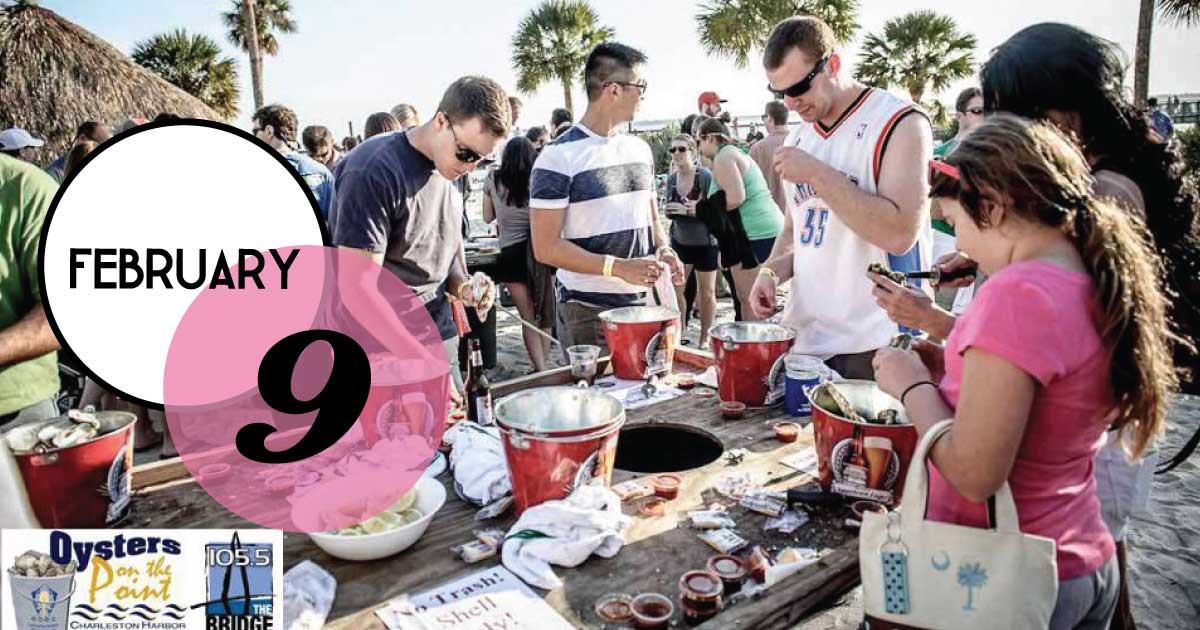 Join us for Oysters on the Point with Weigh Station February 9th at the  Charleston Harbor Resort and Marina  featuring locally steamed oysters, live music, Art Walk, Bloody Mary Bar, and plenty of beer choices.