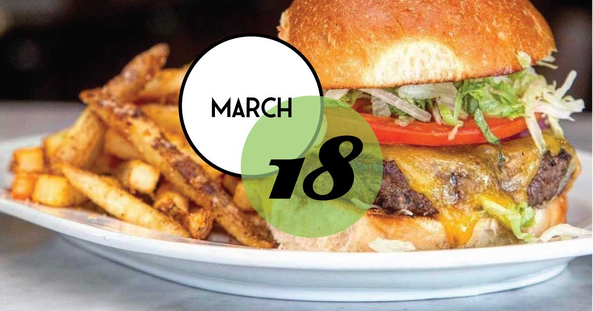 Join us at Rutledge Cab Company in Charleston, SC. Burger comes with a choice of fries or slaw. Every Monday!