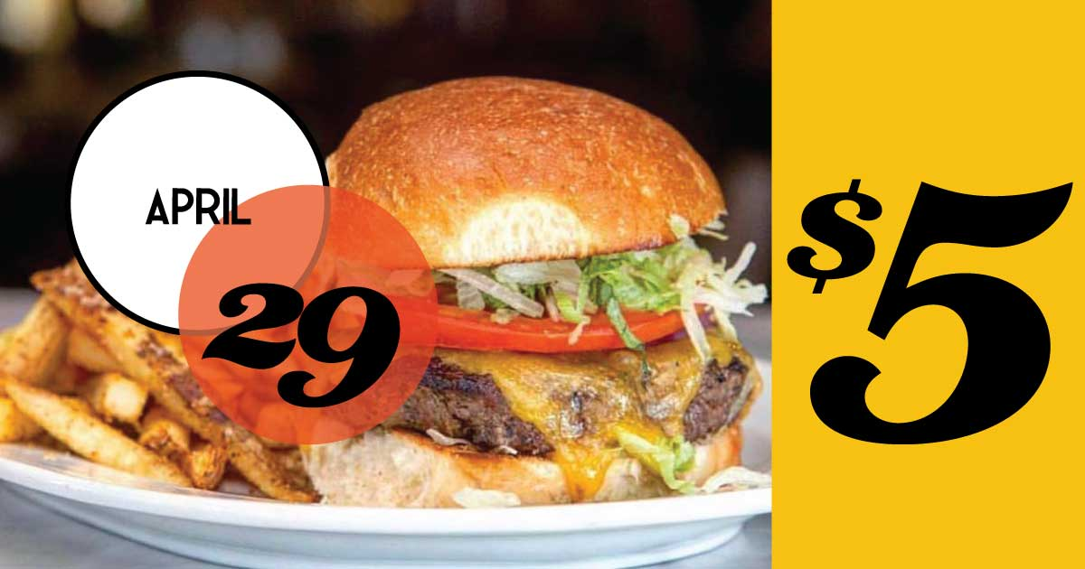 Rutledge Cab Burger Night, $5, served with fries, slaw or potato salad.
