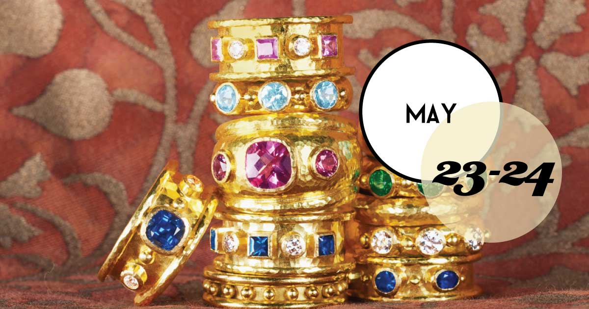 Croghan's Jewel Box, Charleston, SC, hosts an Elizabeth Locke Trunk Show with beautiful, colorful jewels and one of a kind pieces all set in 19kt. Gold.