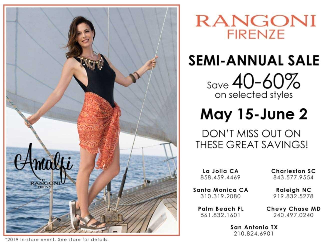 Rangoni Shoe Sale in Charleston SC. 40%-60% off selected styles. Sale ends June 2.