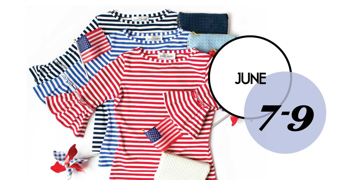 20% off our fave knit T-shirt at Sarah Campbell, Charleston, June 7-9th.