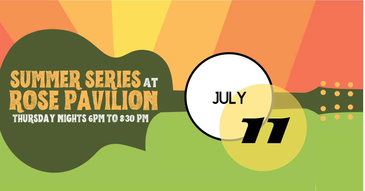 Rose Pavilion hosts a free music series in Hampton Park on Thursday nights, July 11th, 25th.