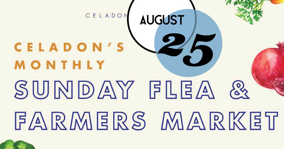 Last Sunday of each month through the end of the year, Celadon opens their warehouse up from 11am-2pm to local vendors; including artisans, crafters, makers, and farmers.