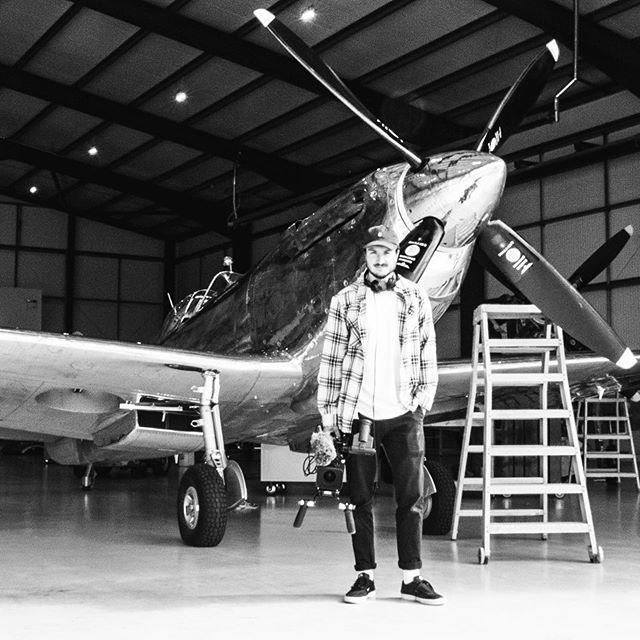 BTS snap of @thecutroomfloor filming for the #LongestFlight #silverspitfire #filmmaking #documentary