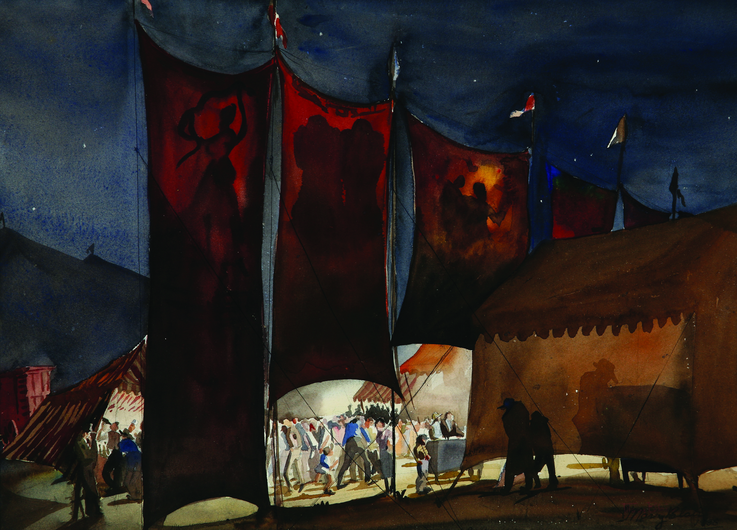 "1. Mary Blair, ""The Circus,"" Watercolor, 14x19.5 inches, 1940s.jpg"