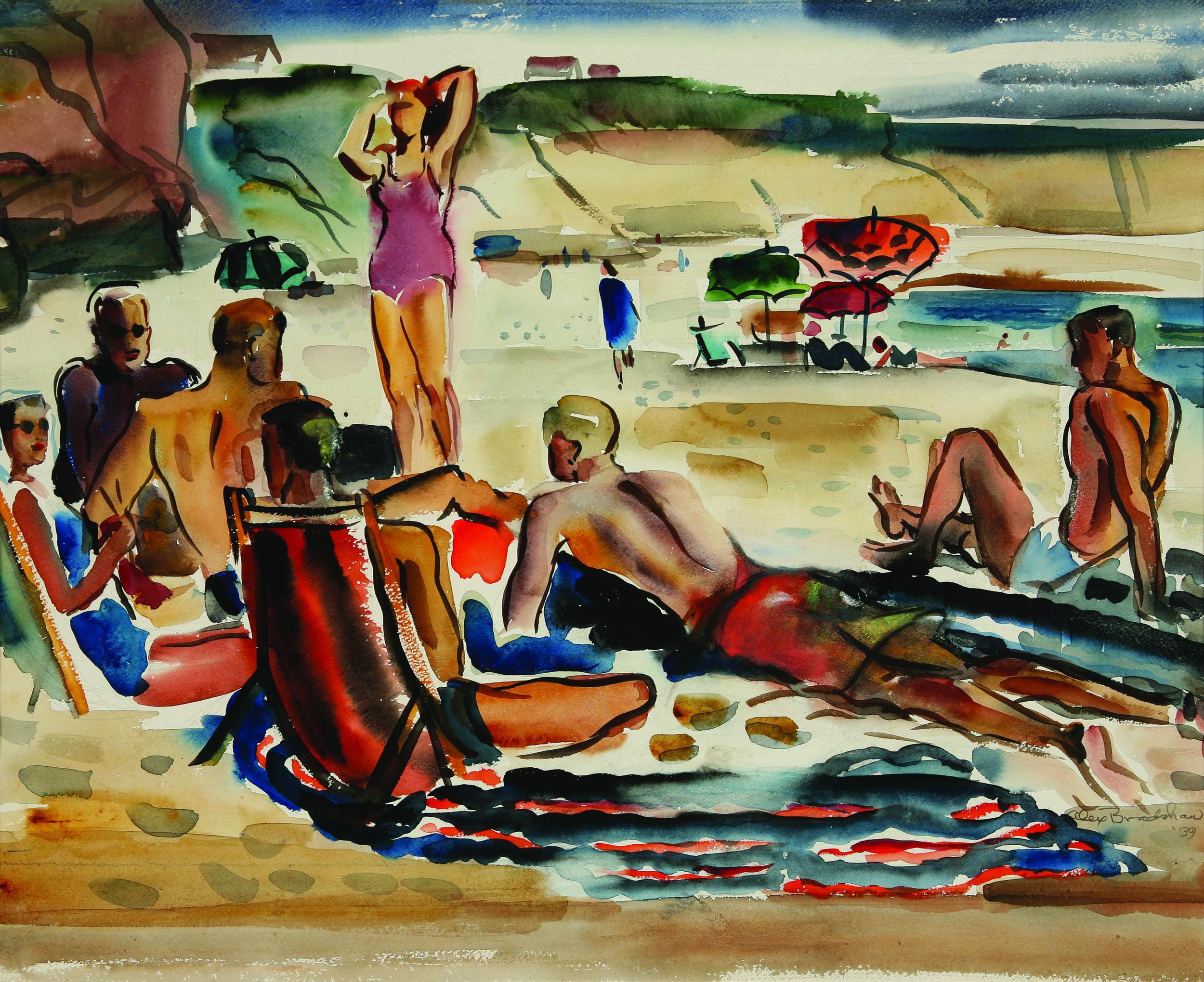 """5. Alexandra Bradshaw, """"Diver's Cove,"""" Watercolor, 17x 21 inches, 1939.jpg"""