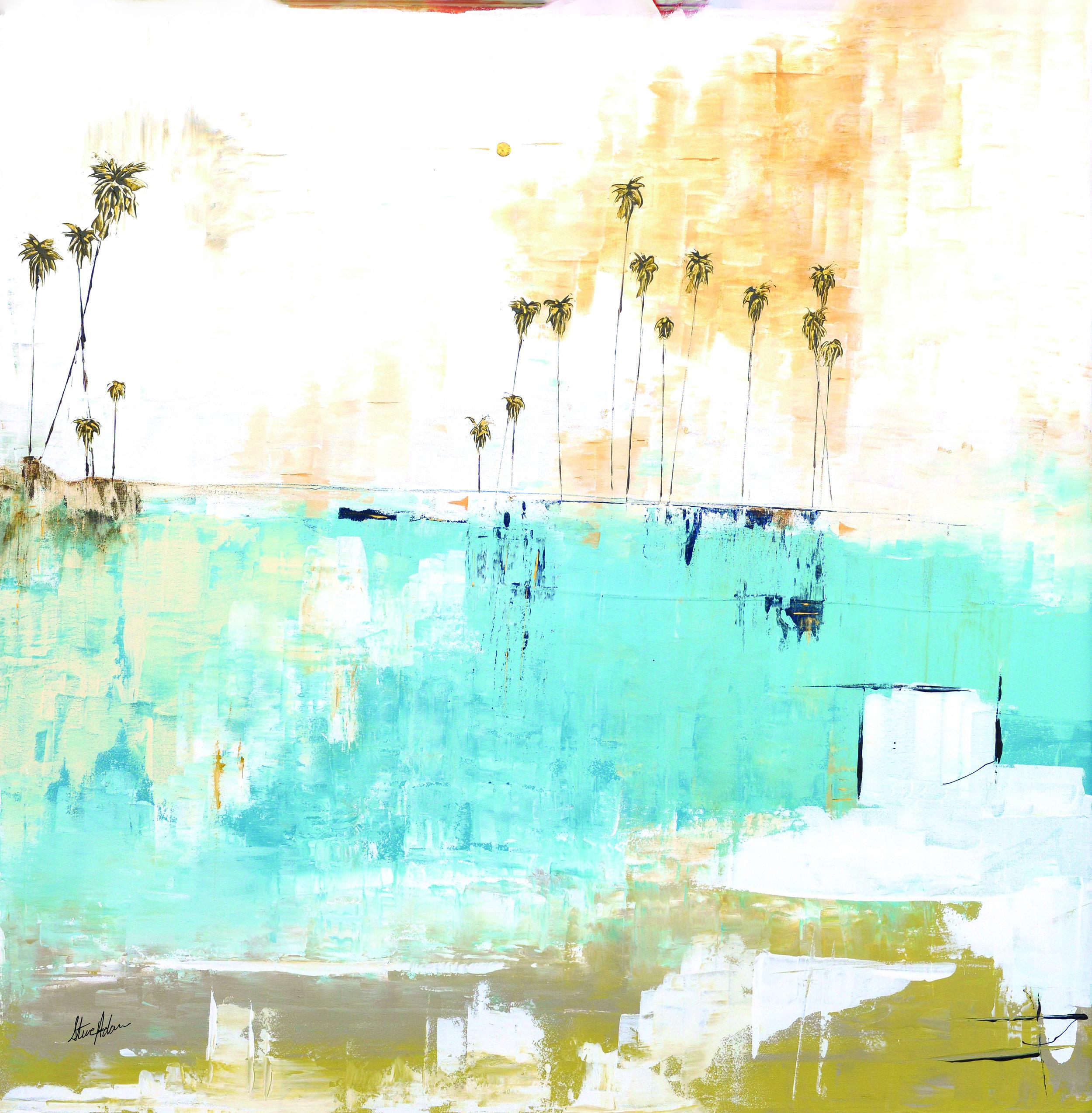 Steve Adam Copyright #0540  49 x 49  Palm Seascape Series  Mixed Media on Canvas- Framed 2.jpg