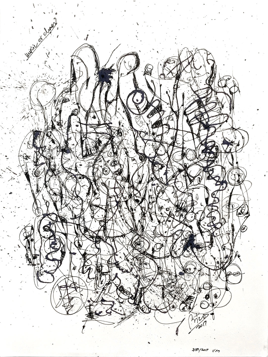 Music or Chaos ink on paper, 9x12