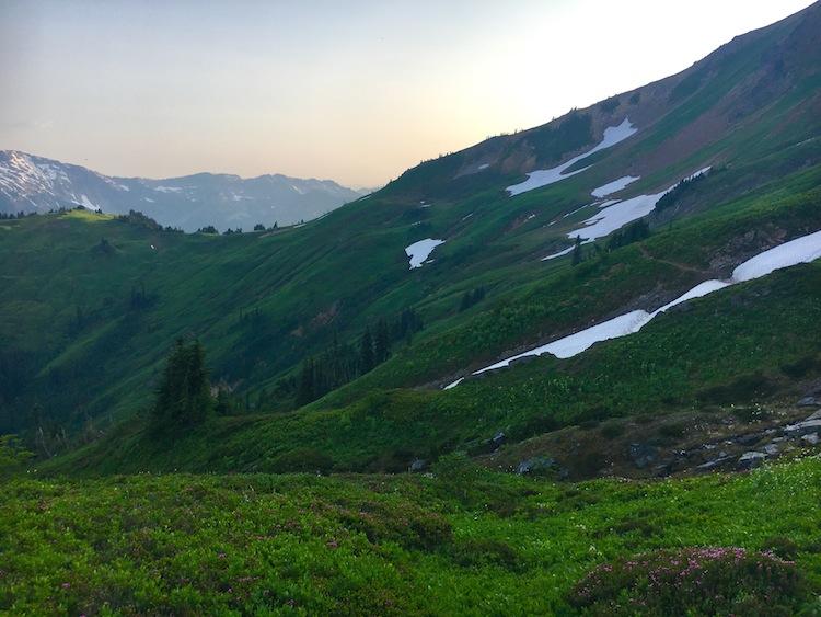 Golden hour on Foam Creek Trail