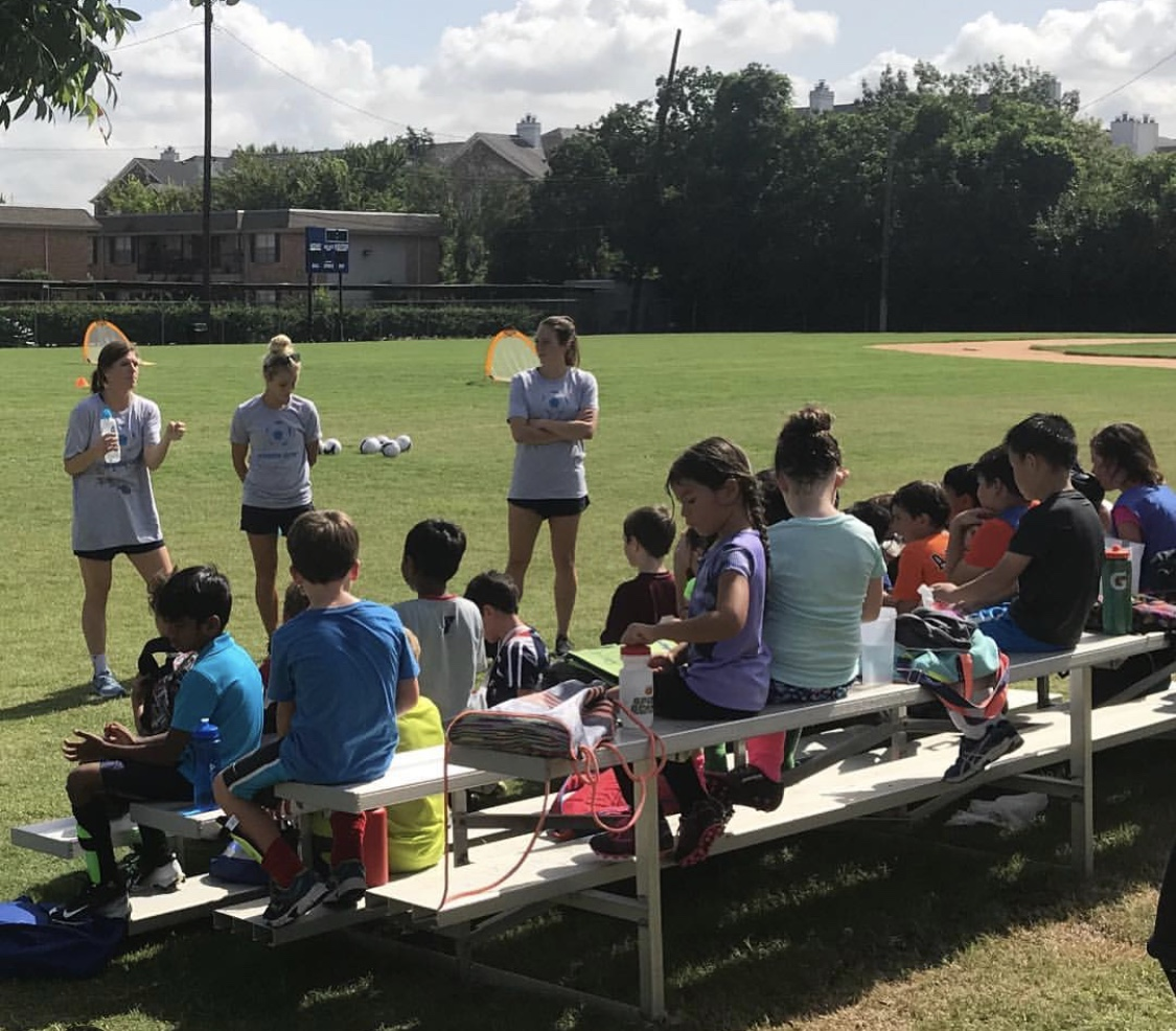 """Houston Dash players Rachel Daly, Veronica Latsko, and Lindsay Agnew speak during our """"story sharing"""" character building session."""