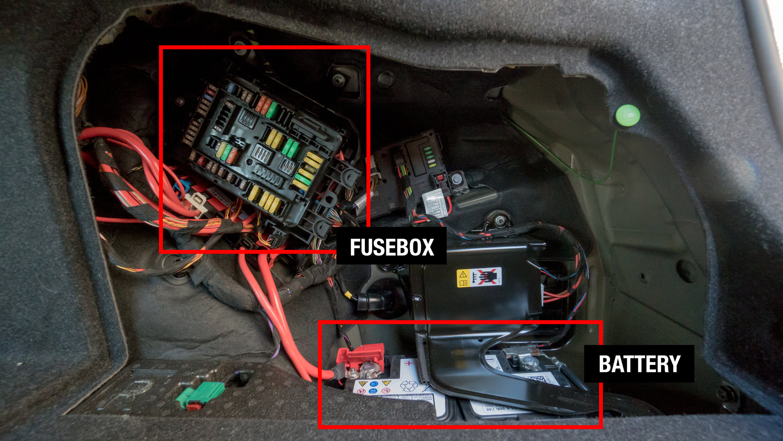 2017 BMW f30 3-series 330e Fuse box and Battery Location