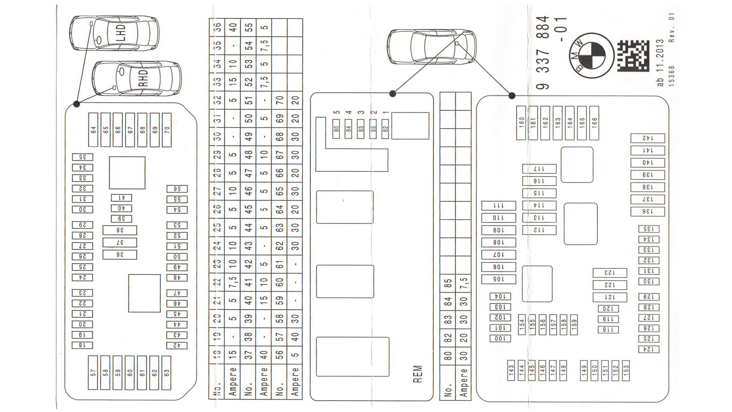 2011-2018 BMW Fuse Box Diagram for F30 3-Series: 330e, 320i, 328i, 330i, 335i, 340i
