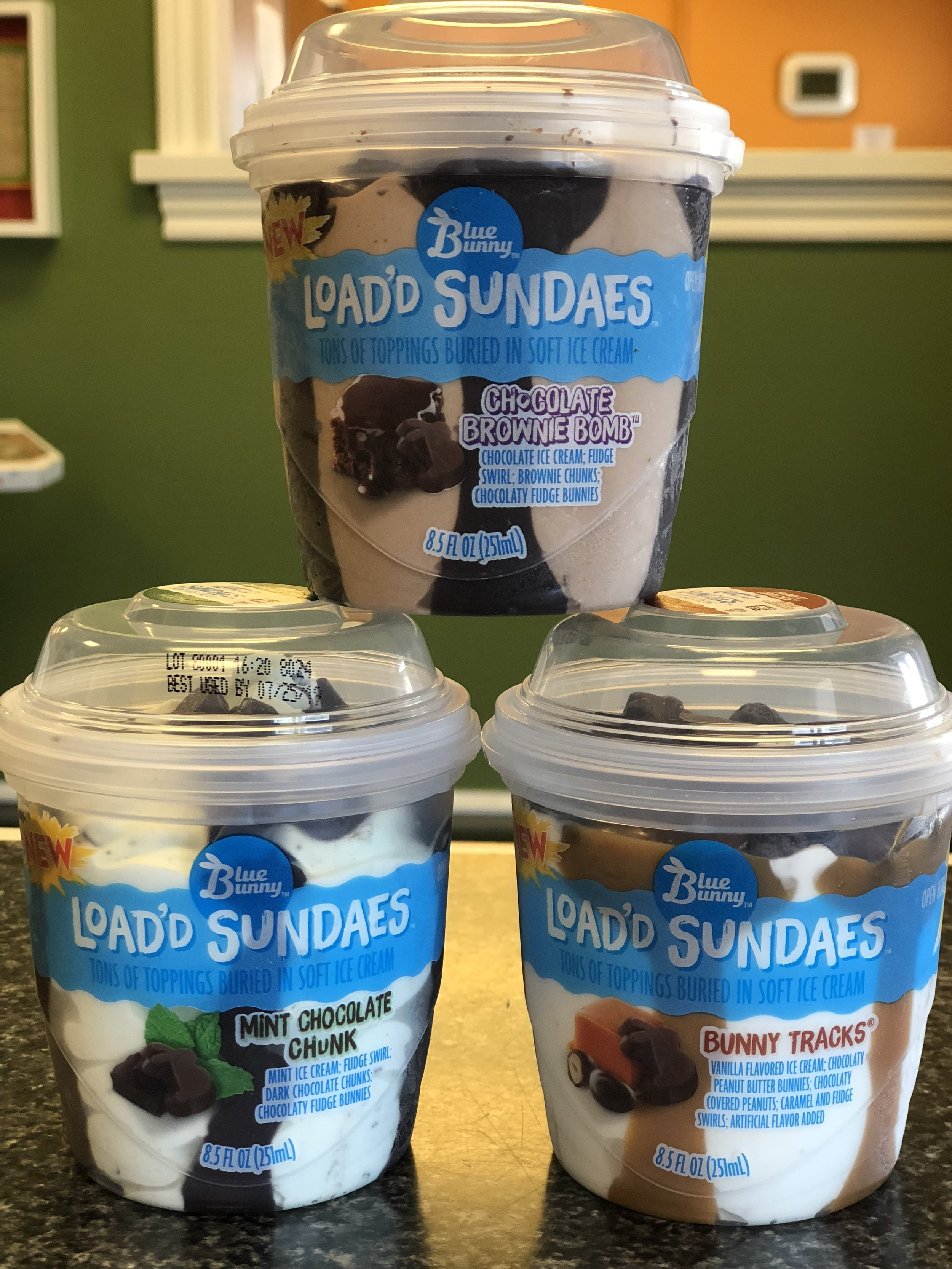 Blue Bunny Load'd Sundaes!  Add a dessert to your meal with Bunny Tracks, Chocolate Brownie Bomb, or Mint Chocolate Chunk sundaes!  Available for delivery too!   $4.24