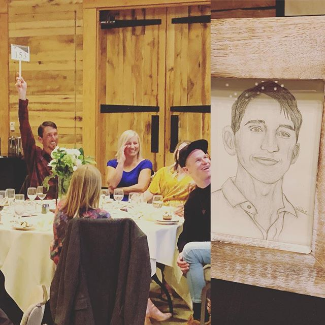 When one of your athletes @aydra.hill hand draws your portrait....you make sure you're the first to bid! #higherlevelhumans #smsef #sundanceskiteam #galaonthemountain