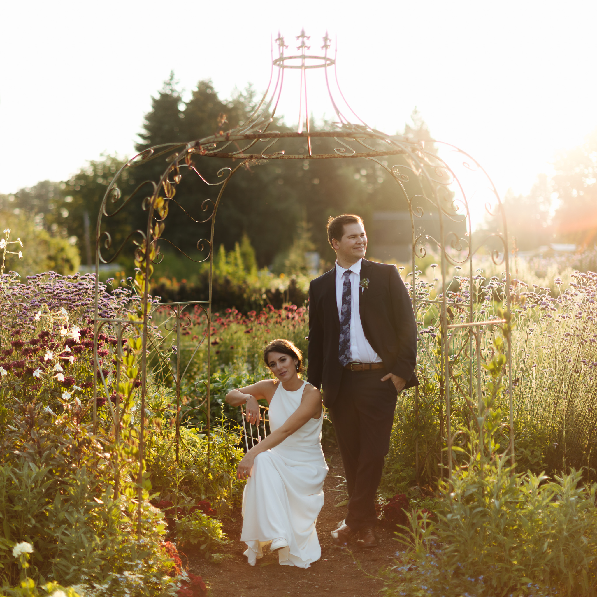 Photo credit: jtobiason Photography | Nick and shelby at sunset in the garden on their wedding day at events at Pine creek Nursery
