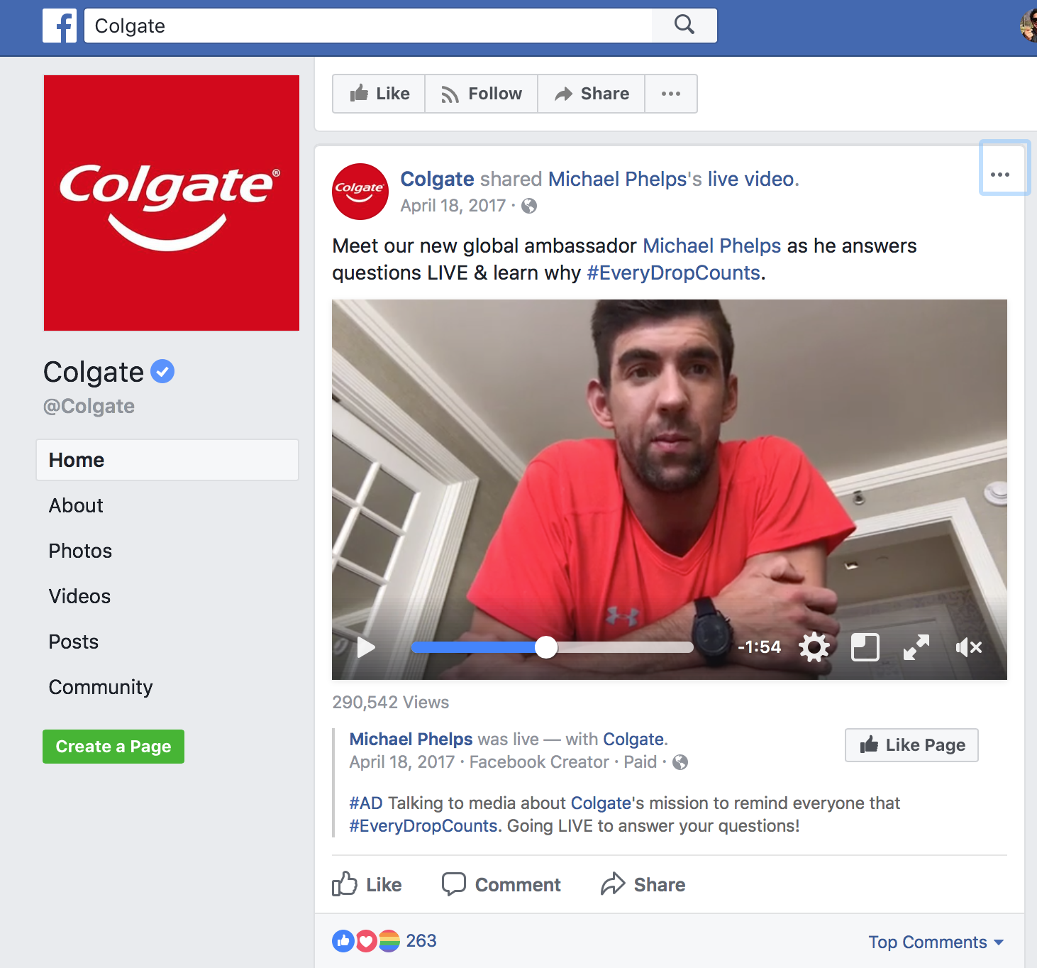 In a Facebook Live video, Michael Phelps connected with his fans to answer questions about saving water