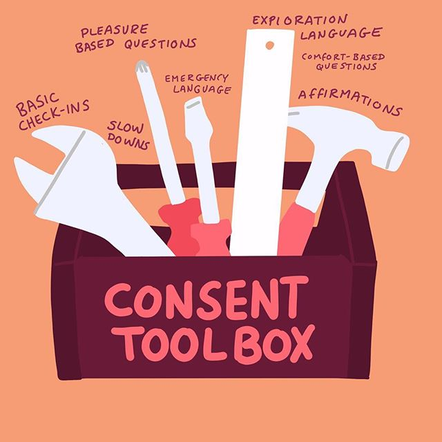 Consent isn't always straight forward but it is always important. I use the metaphor of a toolbox to describe the variety of ways to ask for and establish consent. [read full article link in bio] ❤️💃🏻❤️💃🏻 #sexpositive #sexology #consent #bodypositive #radicalselflove #sexy #feminist #feminism #love #relationship #couple #respect #empower #sexuality #sexeducation  #womenempowerment #art #artist #design #doodle #drawing #sketch #graphicdesign #digitalart #procreate #sketchbook #illustration #cauliflowerhour #shrimpteeth