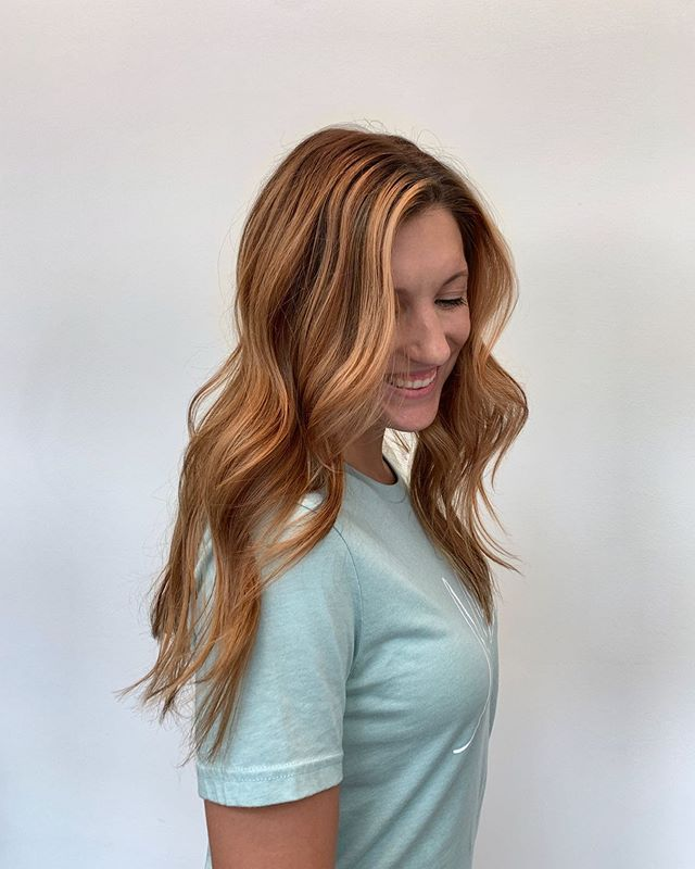 Lindsey loves changing it up! We opted for a rich shadow root , copper gold  lowlights, and balayage around her face. Best of both of worlds!