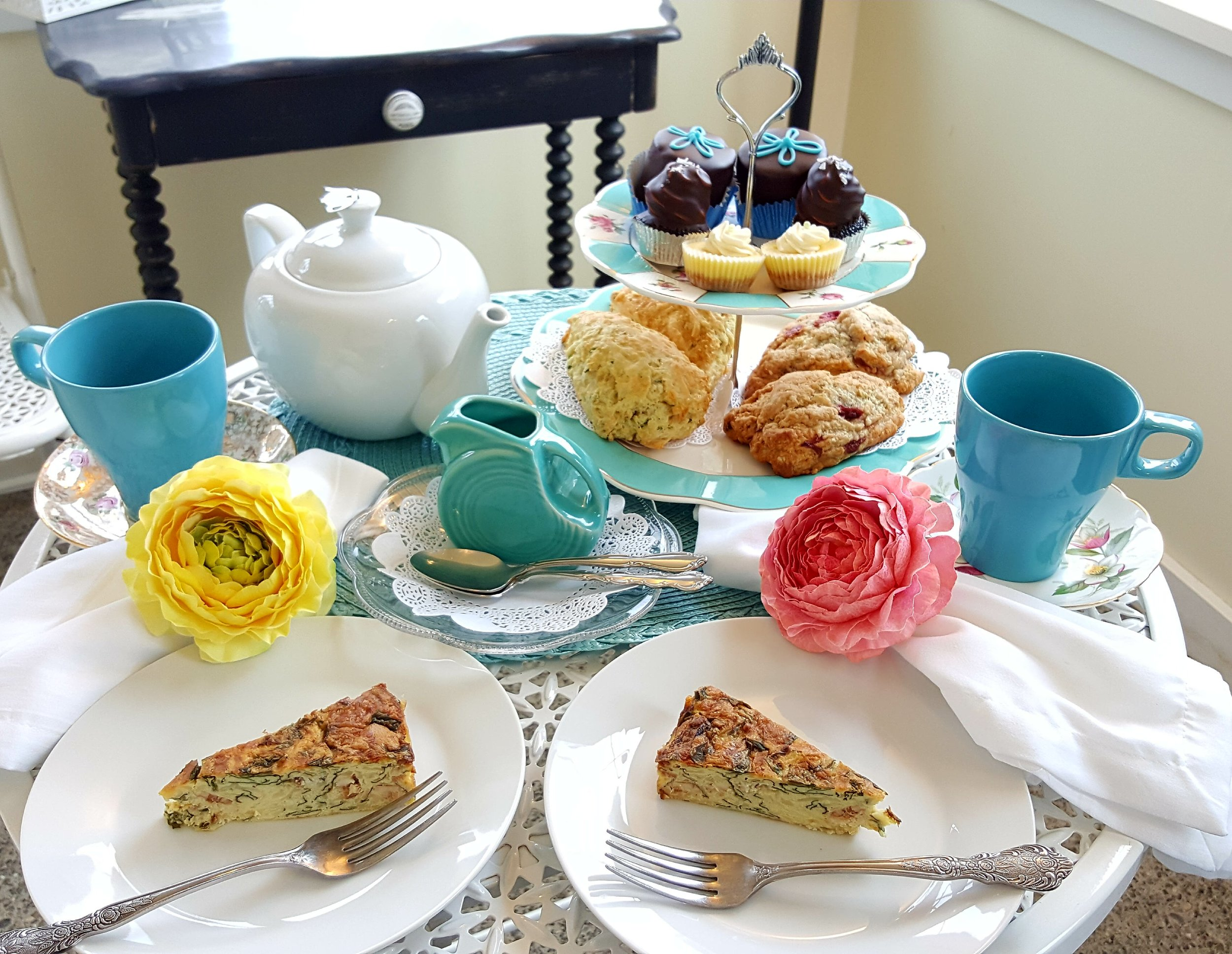 Cottage Tea Menu - Quiche*Sweet Scone with house made Lemon Curd*Savory Scone*Assortment of Signature treats including our Sweet Blissand Unlimited Tea*Gluten Free available