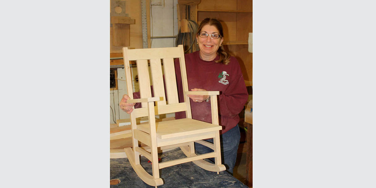 One of three rocking chairs for the grandchildren