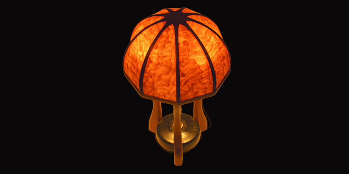 Early lamp with wooden shade