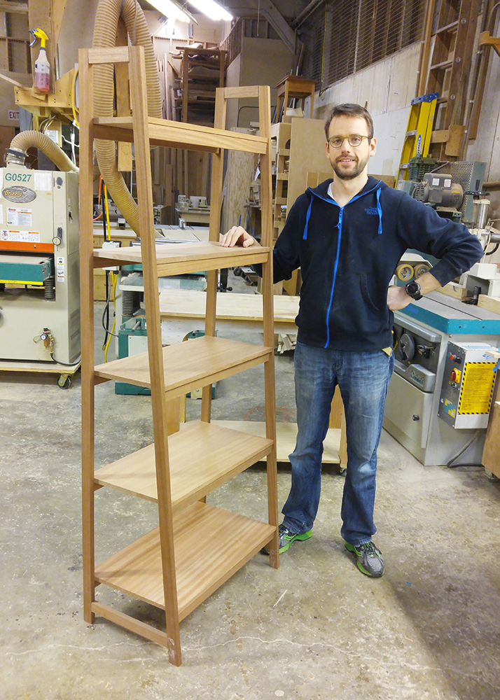 Variable Depth Bookcase by a former student. A full scale layout was the key