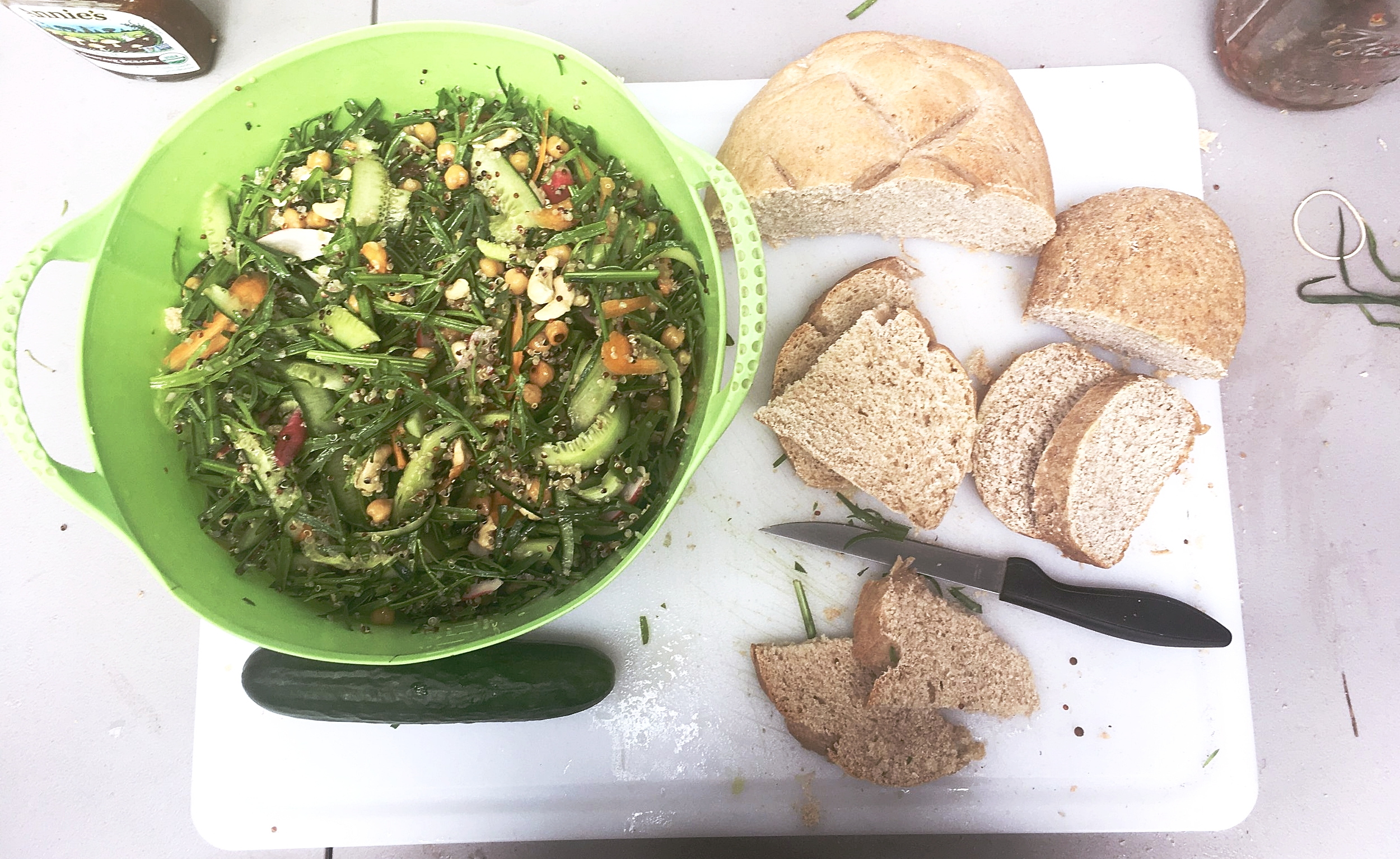 The Finished salad with homemade bread