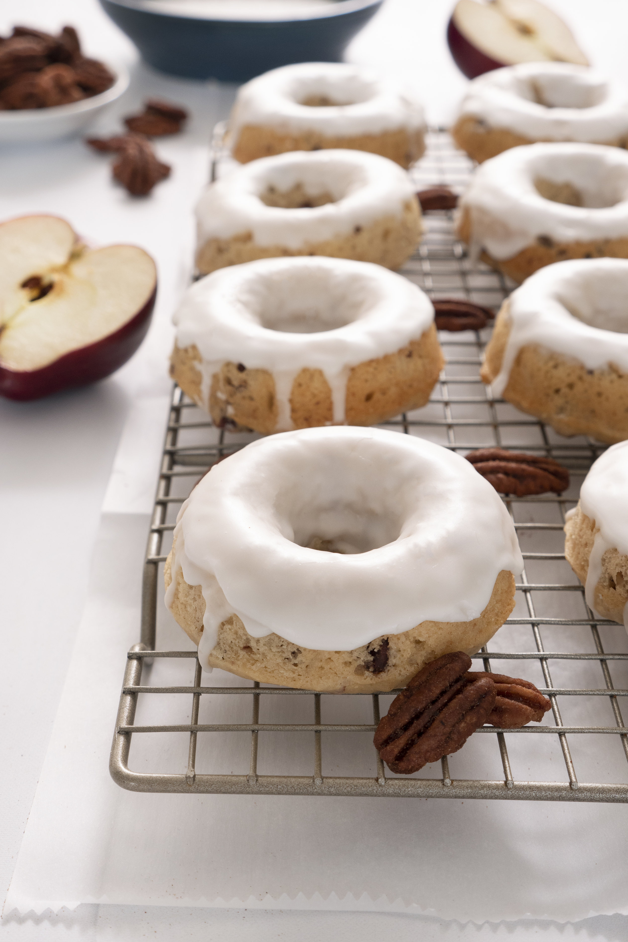 Baked Apple Cider Doughnuts with Cinnamon Pecans