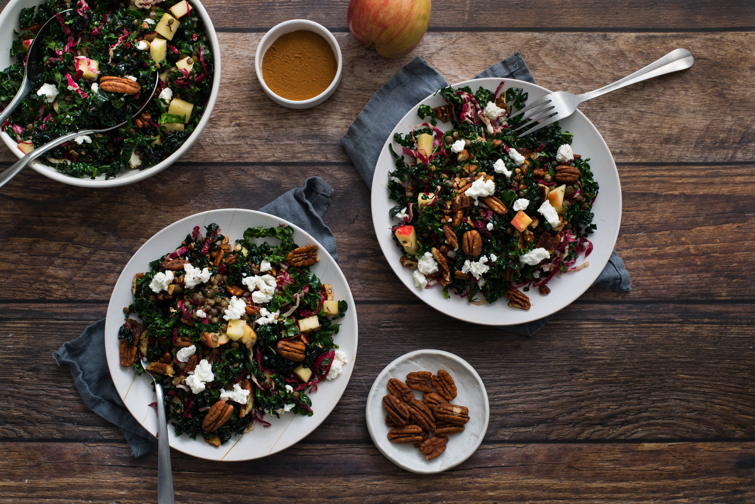 Kale and Lentil Salad with Pecans and Goat Cheese