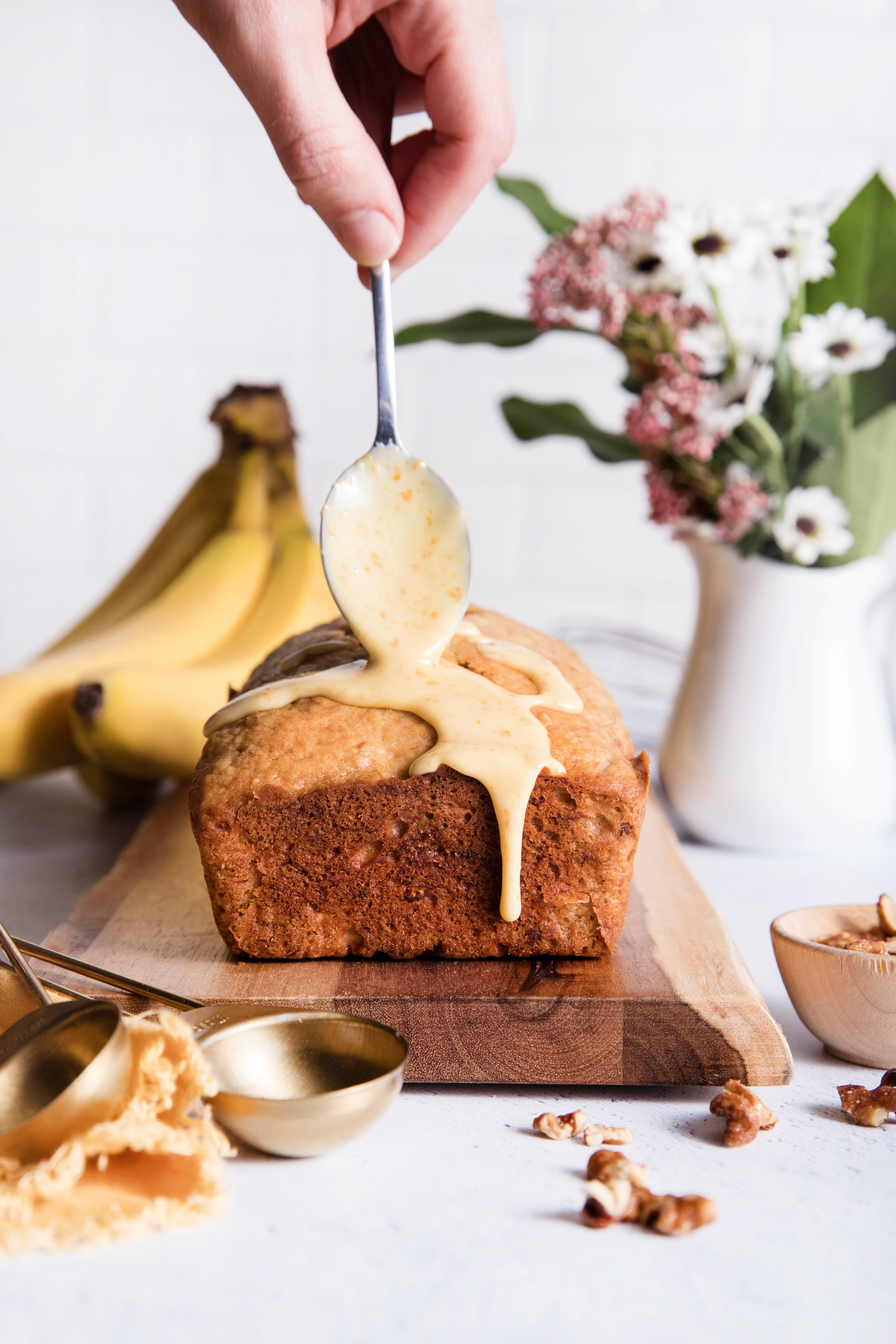 Banana Walnut Bread with Bourbon-Orange Glaze