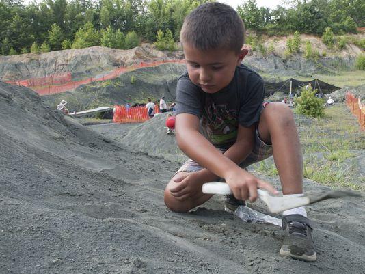 Andrew Ellison, 6, digs for fossils at Rowan University's Edelman Fossil Park in Mantua. (Photo: Jose Moreno/ Staff photographer)