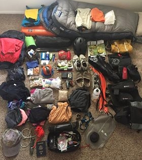 """""""I'm amazed at how little you need to get by… One metal cup for cooking your Top Ramen, a sleeping pad and bag, a small tool kit, headlamp, tent, food and water and you're good to go."""" -"""