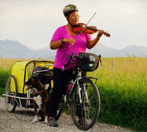 """""""In 2016, I decided to get back on my bicycle…I turned the road into the music school I never got to attend."""" -"""