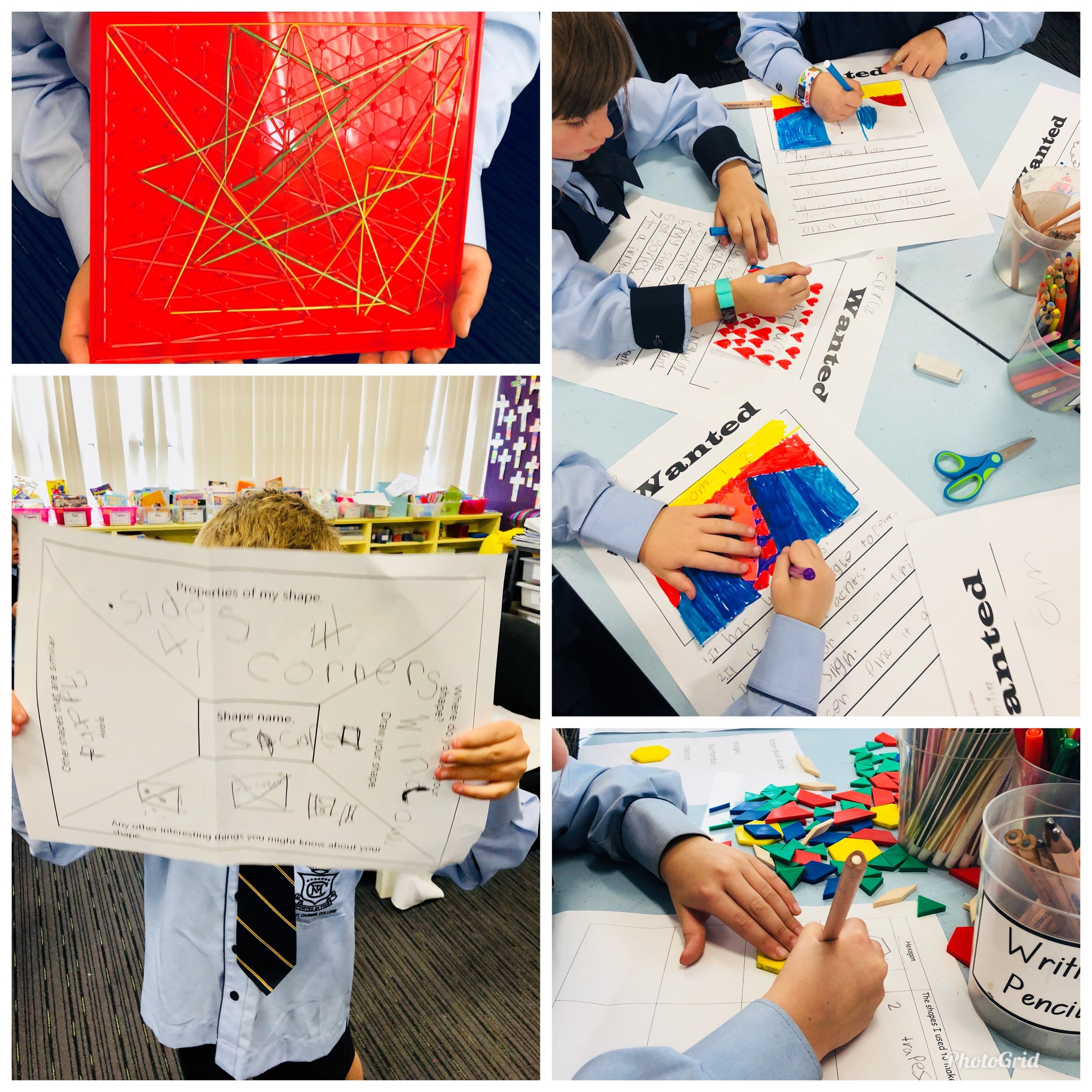 Photo: Grade One using open-ended and varied geometry activities whilst learning about 2D shapes and their properties. Final professional learning. May 2018.