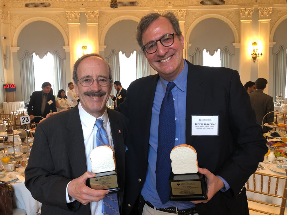 U.S. Rep. Eliot Engel, left, and Jeffrey Moerdler were recipients of awards from The Met Council on Jewish Poverty. Engel won the Fighting Hate and Anti-Semitism Award while Moerdler was named volunteer of the year.  Courtesy of U.S. Rep. Eliot Engel
